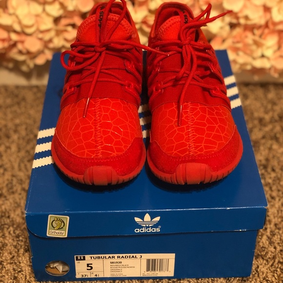 another chance c7c73 2dde0 ADIDAS red Tubular Radial Kids 5 (women's 6.5)